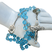 VINTAGE Blue Crystal Rosary with Sterling Cross and Special Metal of John 23 of the Vatican Council