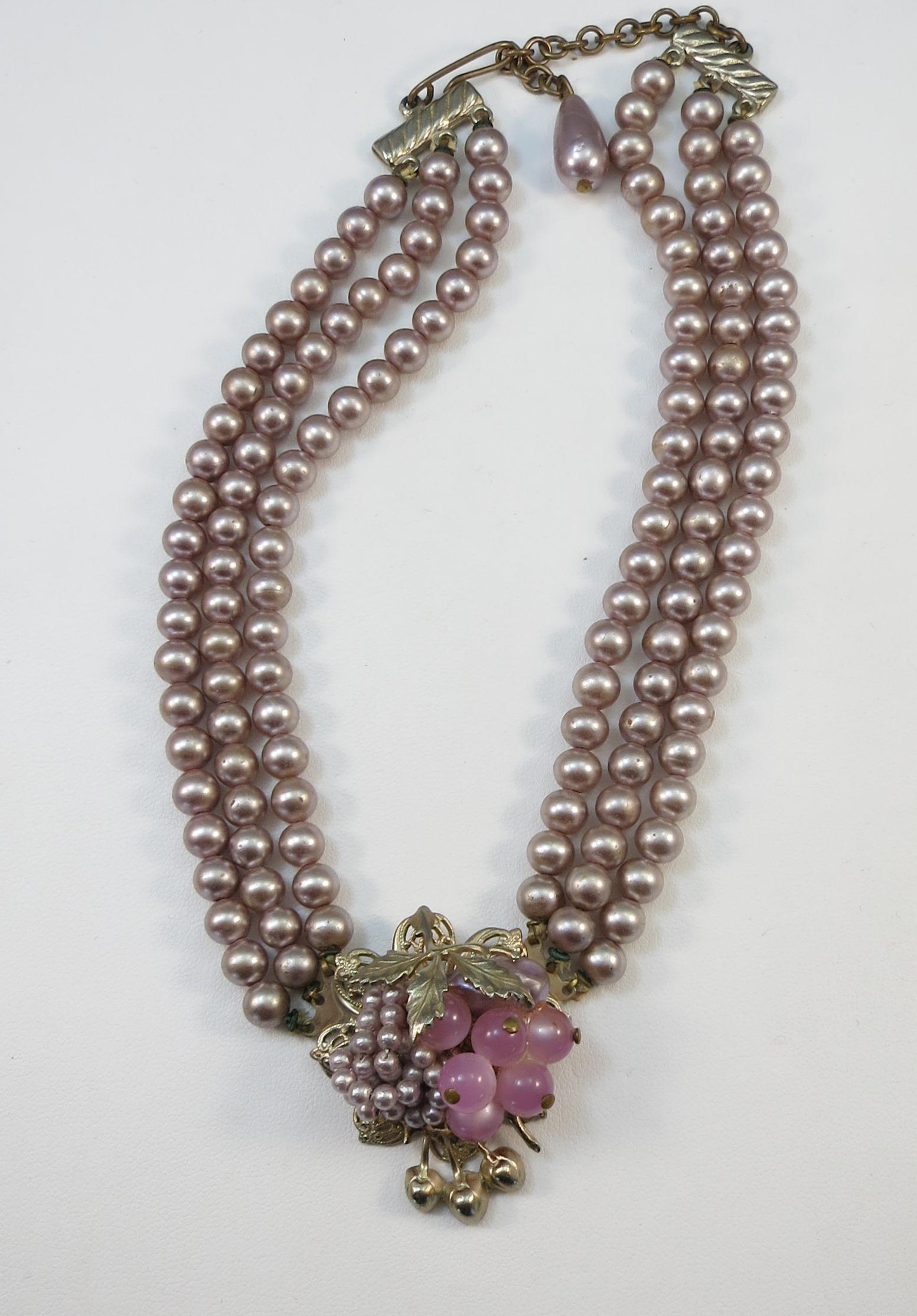 VINTAGE Three Strand Pinkish Pearl-like Choker with Pink Glass Beads
