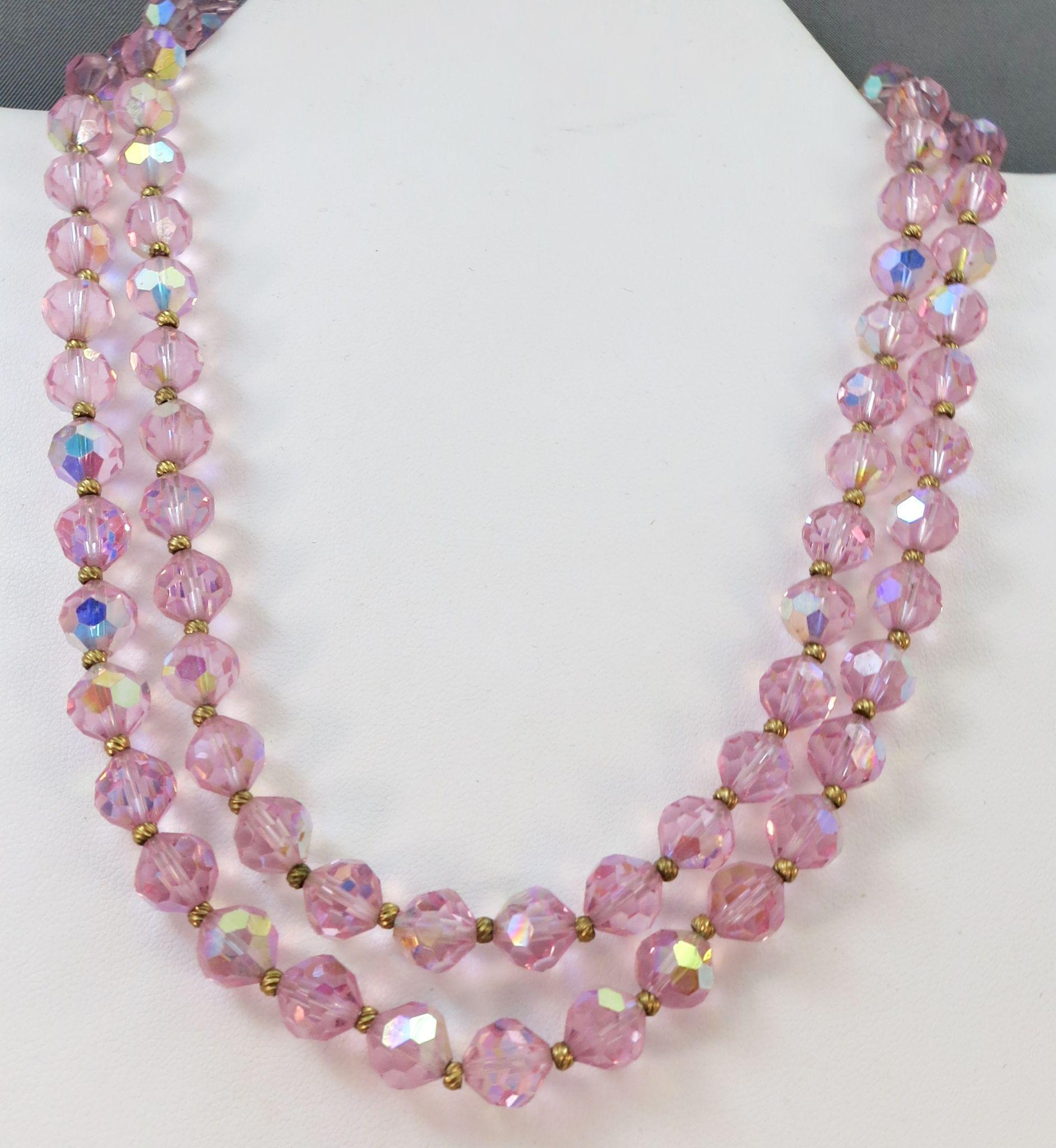 VINTAGE Two Strand of Super Pink Glass Beads  60's