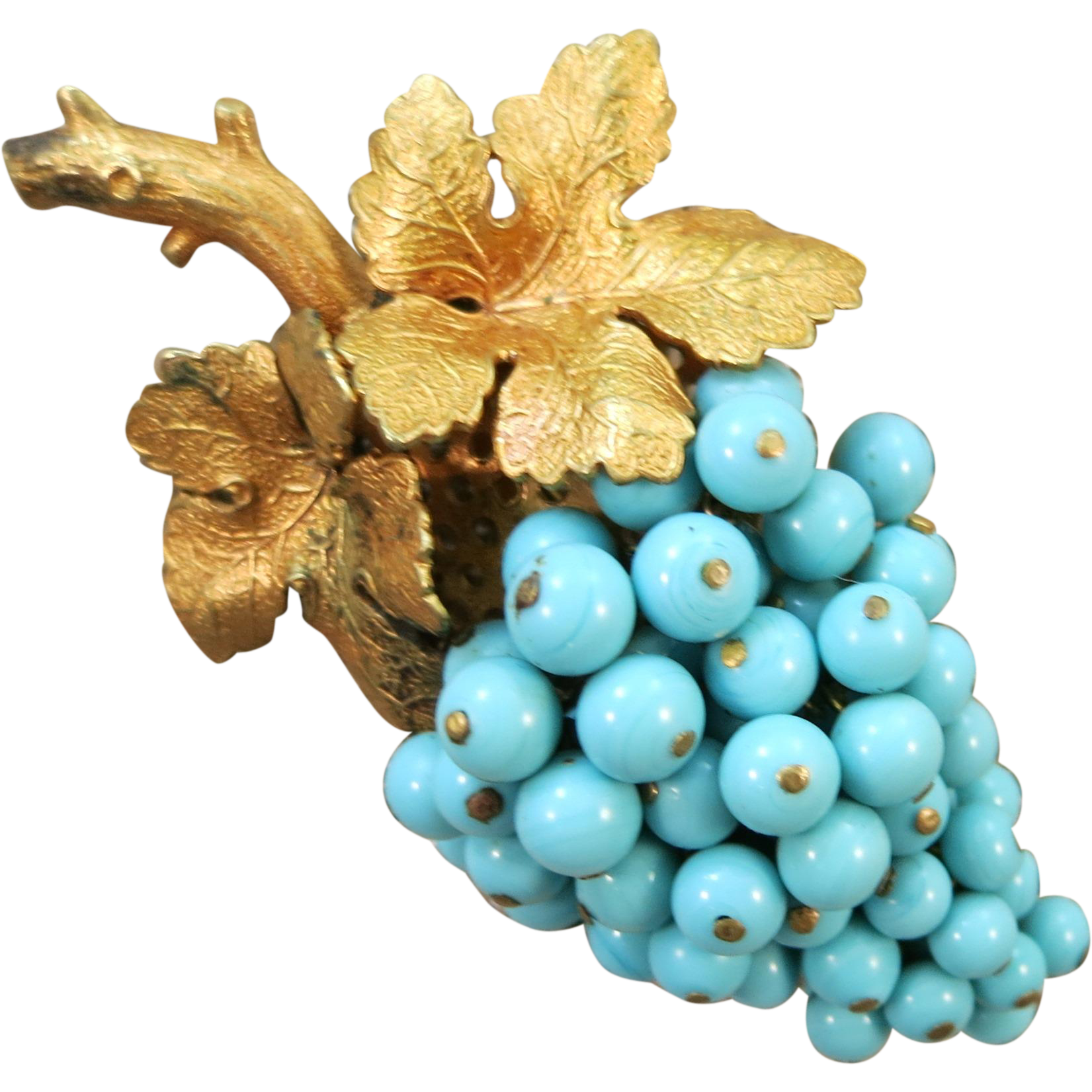 VINTAGE Beaded Blue Grapes with Two Grape Leaves  Brooch