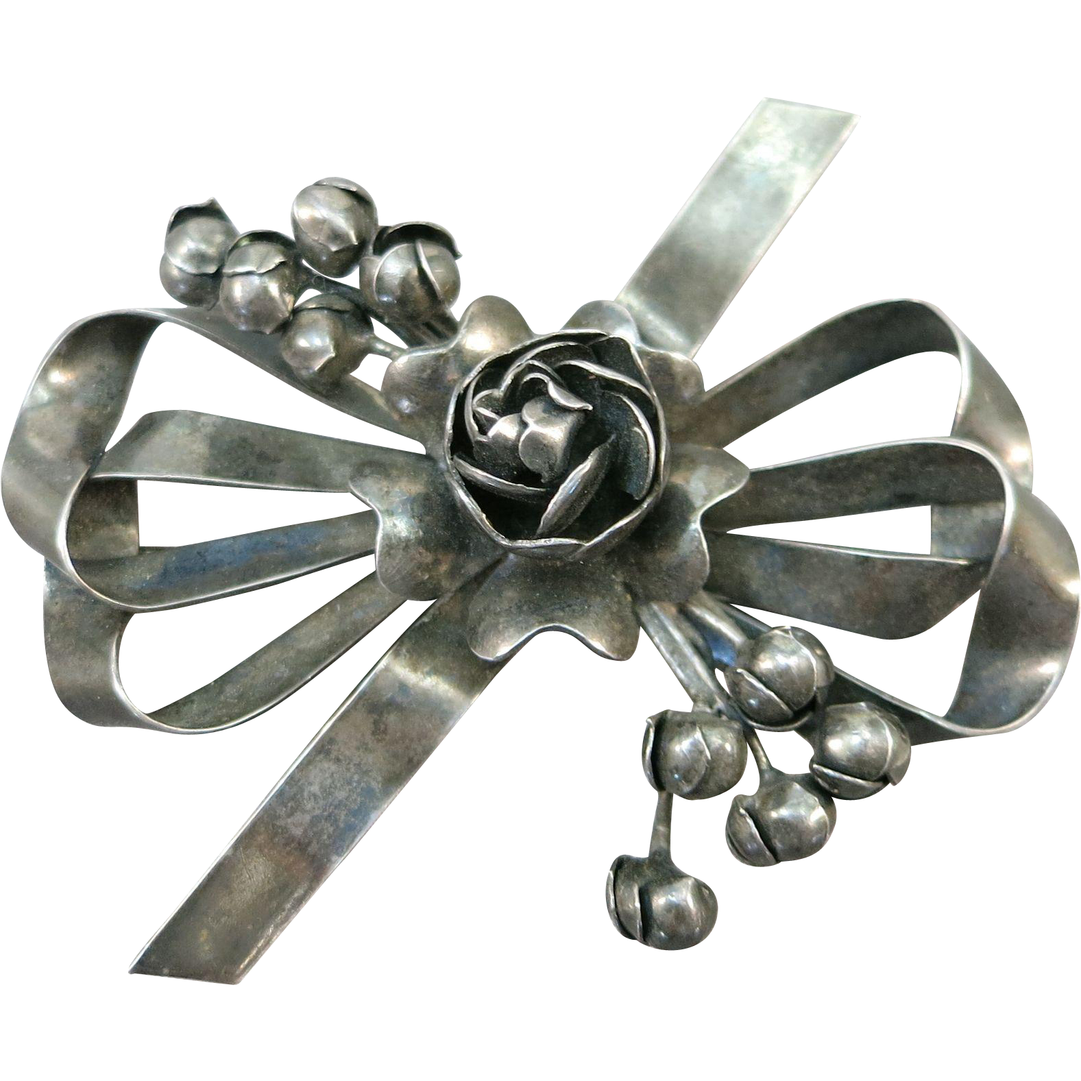 VINTAGE Sterling Hobe' Brooch Flower Bouquet