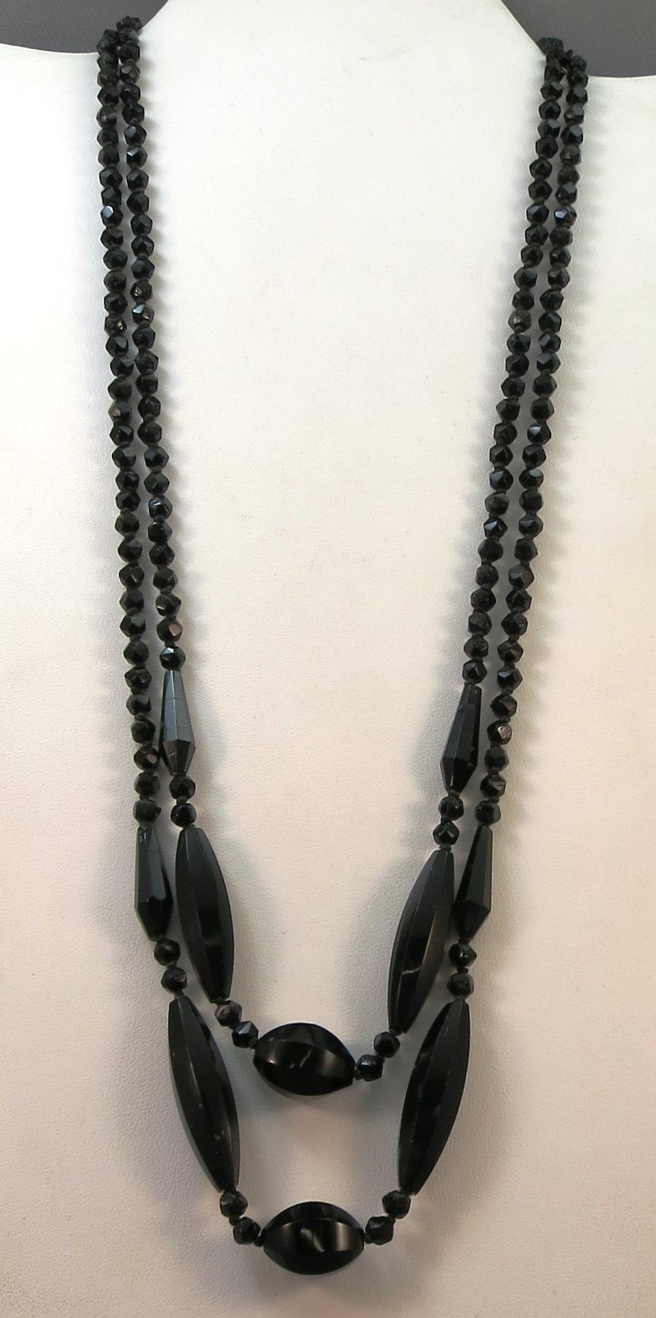 VINTAGE  Long 42 Inch String of Knotted Black Glass Necklace Classic!