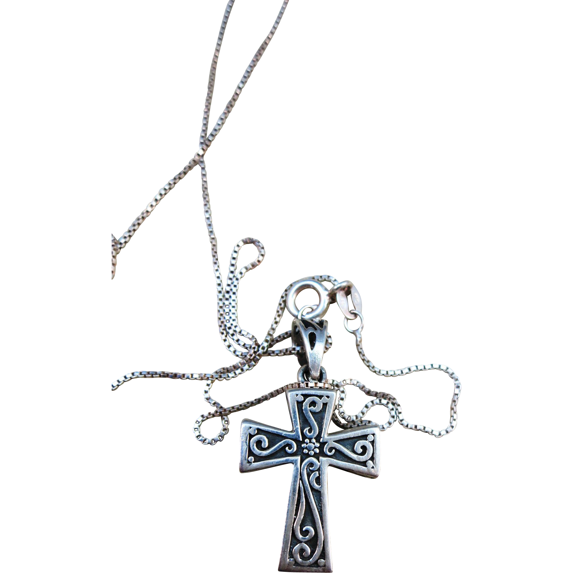 VINTAGE Sterling Cross Locket with a sterling chain 18 inches