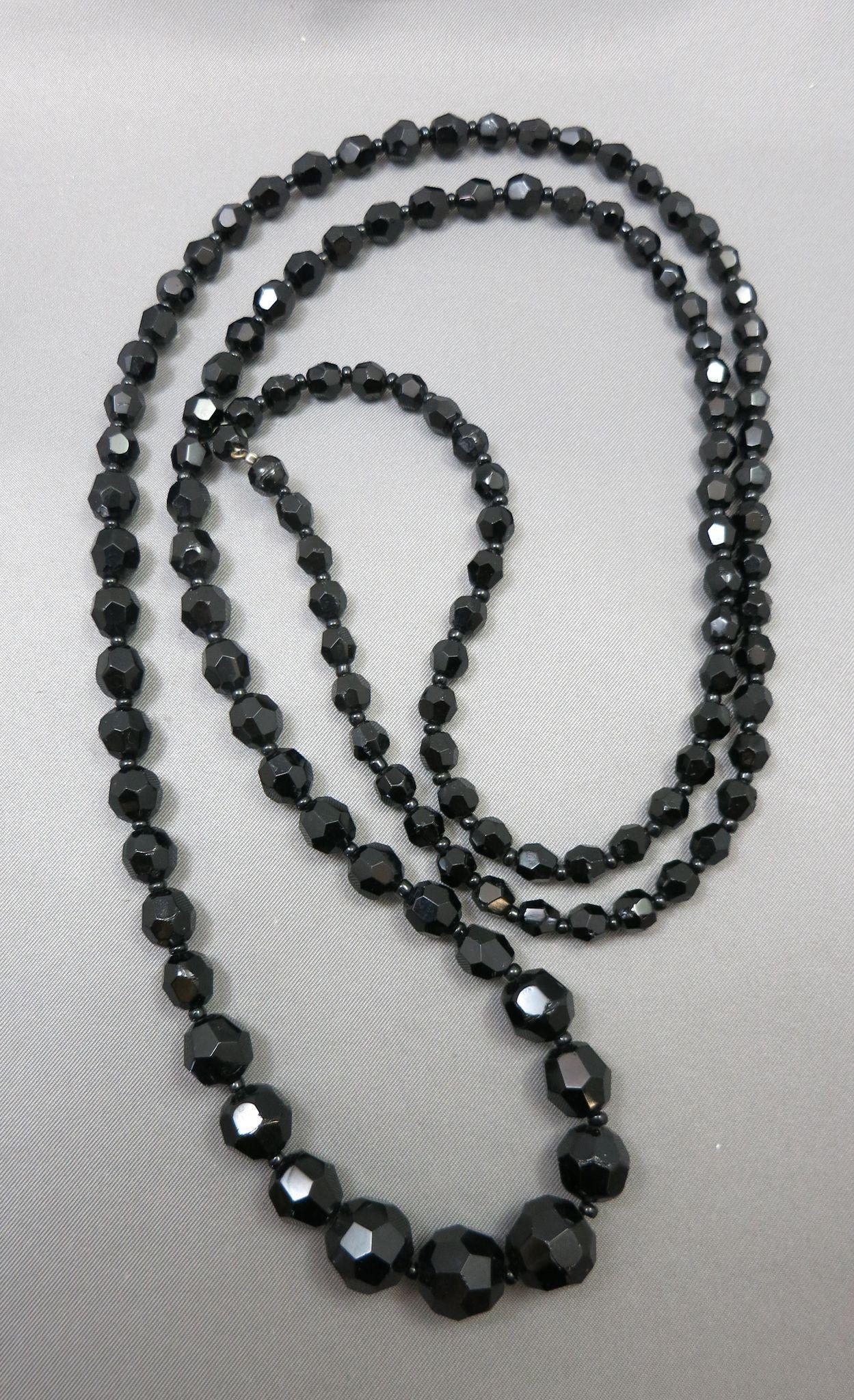 VINTAGE 40 Inch  Graduated Black  Glass Necklace