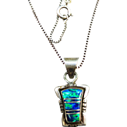 VINTAGE Sterling Opal Pendant with Sterling Chain