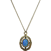 VINTAGE  14K Yellow Gold Opal Pendant and Chain