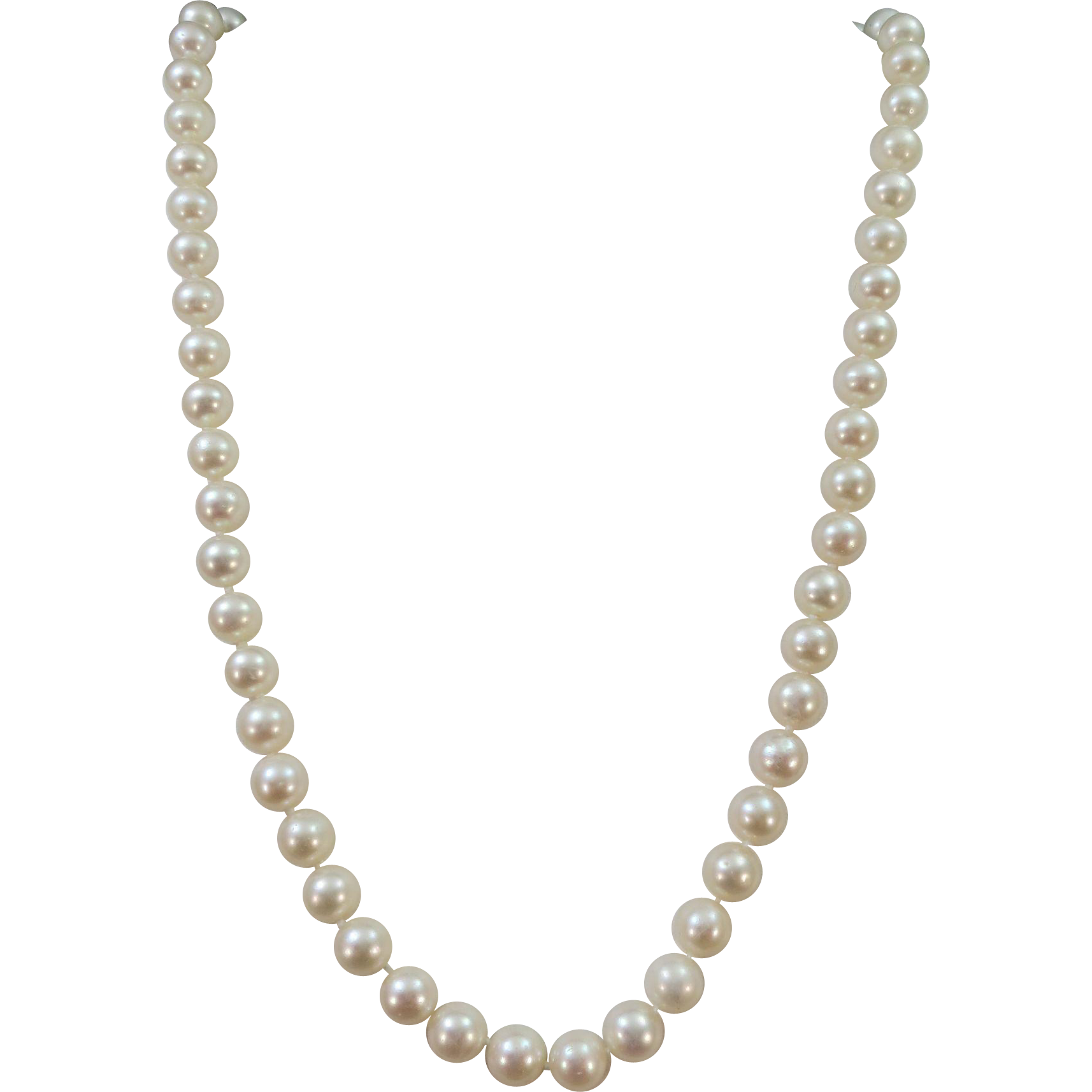 VINTAGE 18 Inch String of knotted Fresh-water pearls 8mm Well Matched and 14K fish-hook closure