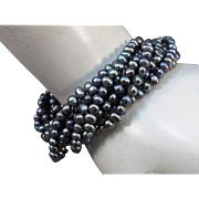 VINTAGE  Fresh-water Pearl Many Strand Bracelet  Blue Black Pearls