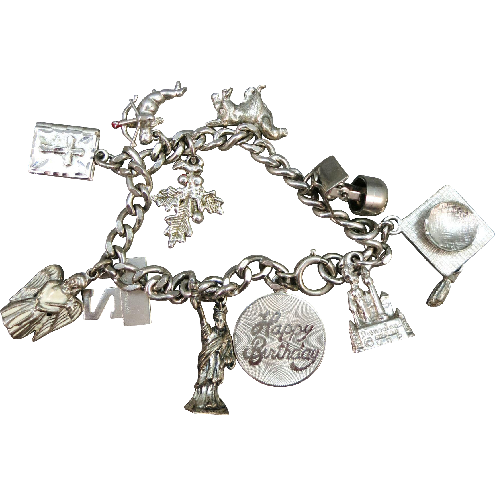 VINTAGE 60'S Stering Charm Bracelet   10 Charms