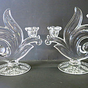 VINTAGE Fostoria Baroque Two Lite Candlestick -- Two Candlesticks--