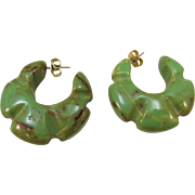 VINTAGE Bakelite Pierced Spinach Green Hoops