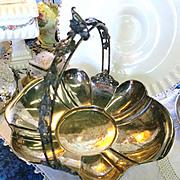 VINTAGE  Meriden Silver Plate Quadruplate Wedding Basket  Pre 1900
