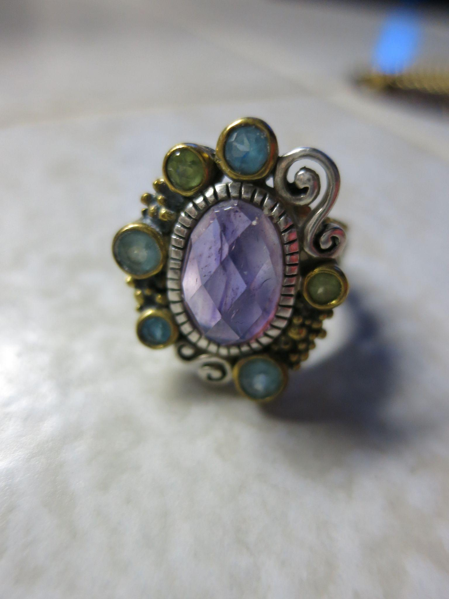 VINTAGE  Sterling ring with Faceted Amethyst  Jewel with Green Stones Size 6 1/4
