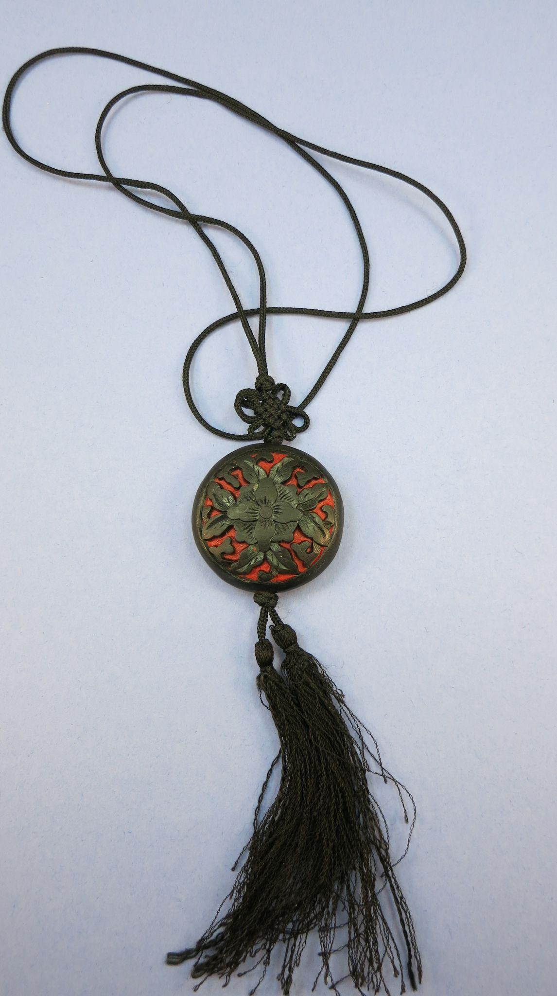 VINTAGE Black with Red Carved Cinnabar  80's Knotted Silk Cord Medallion Pendant