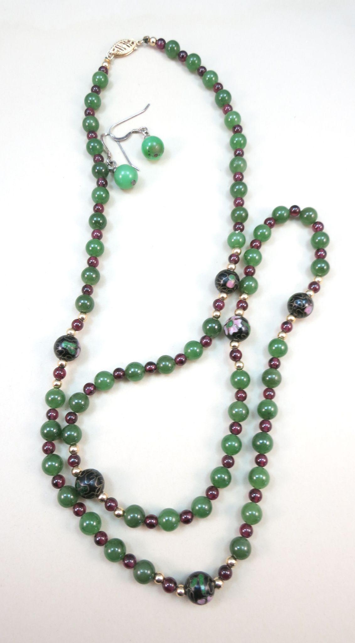 VINTAGE Jadeite Beads, Garnet Beads, Cloisonne beads, and 14k small gold beads  Necklace  Beautiful!