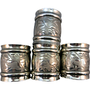 VINTAGE Four Silverplated Napkin Rings  Flying Geese