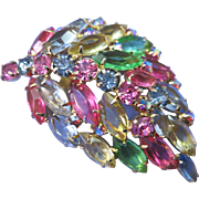 VINTAGE Julianna Many Colored Rhinestone Brooch The Gay 60's