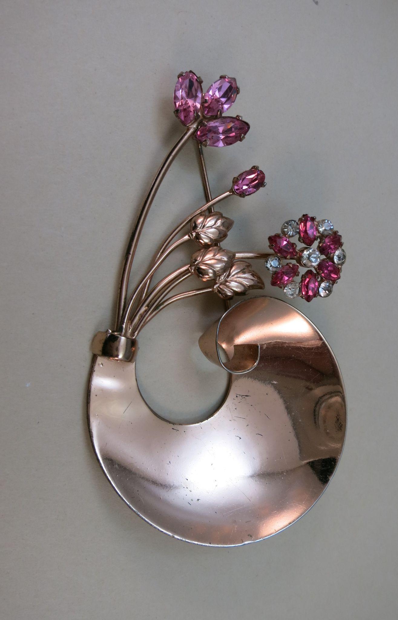 VINTAGE Coro Sterling Craft Vermeil Bowl of Flowers