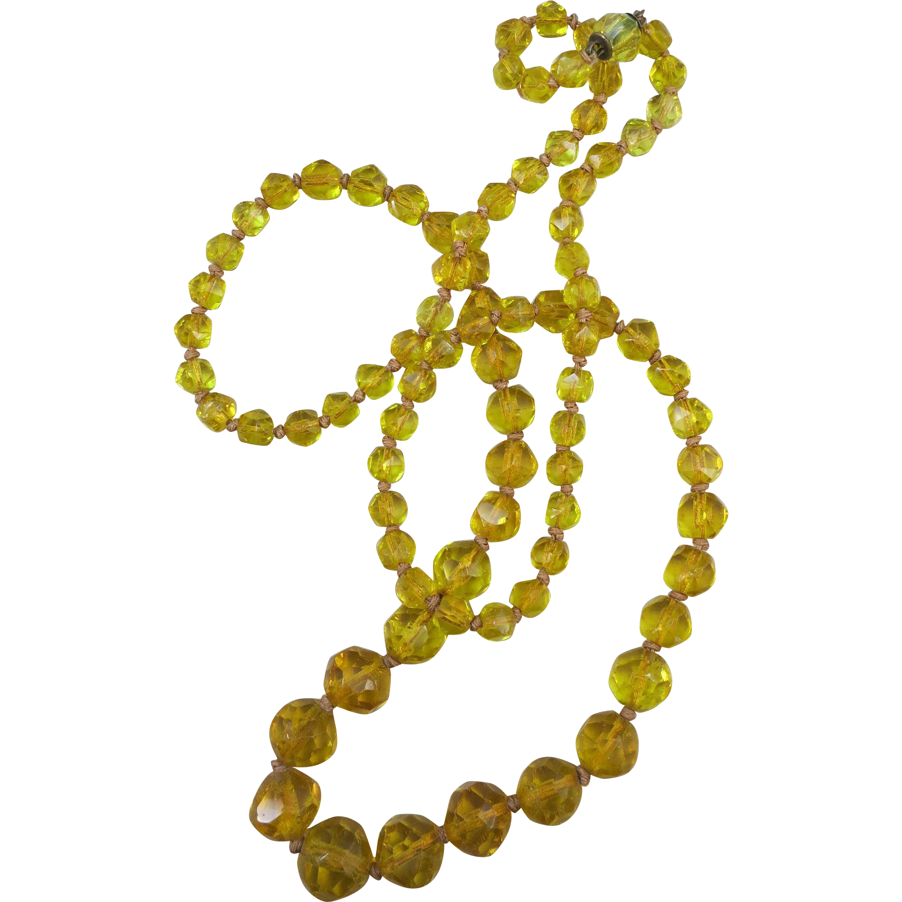 VINTAGE 27 Inch Yellow Glass Faceted Necklace