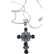 VINTAGE Sterling Large Mexican Silver Cross with Amethyst Cabochons