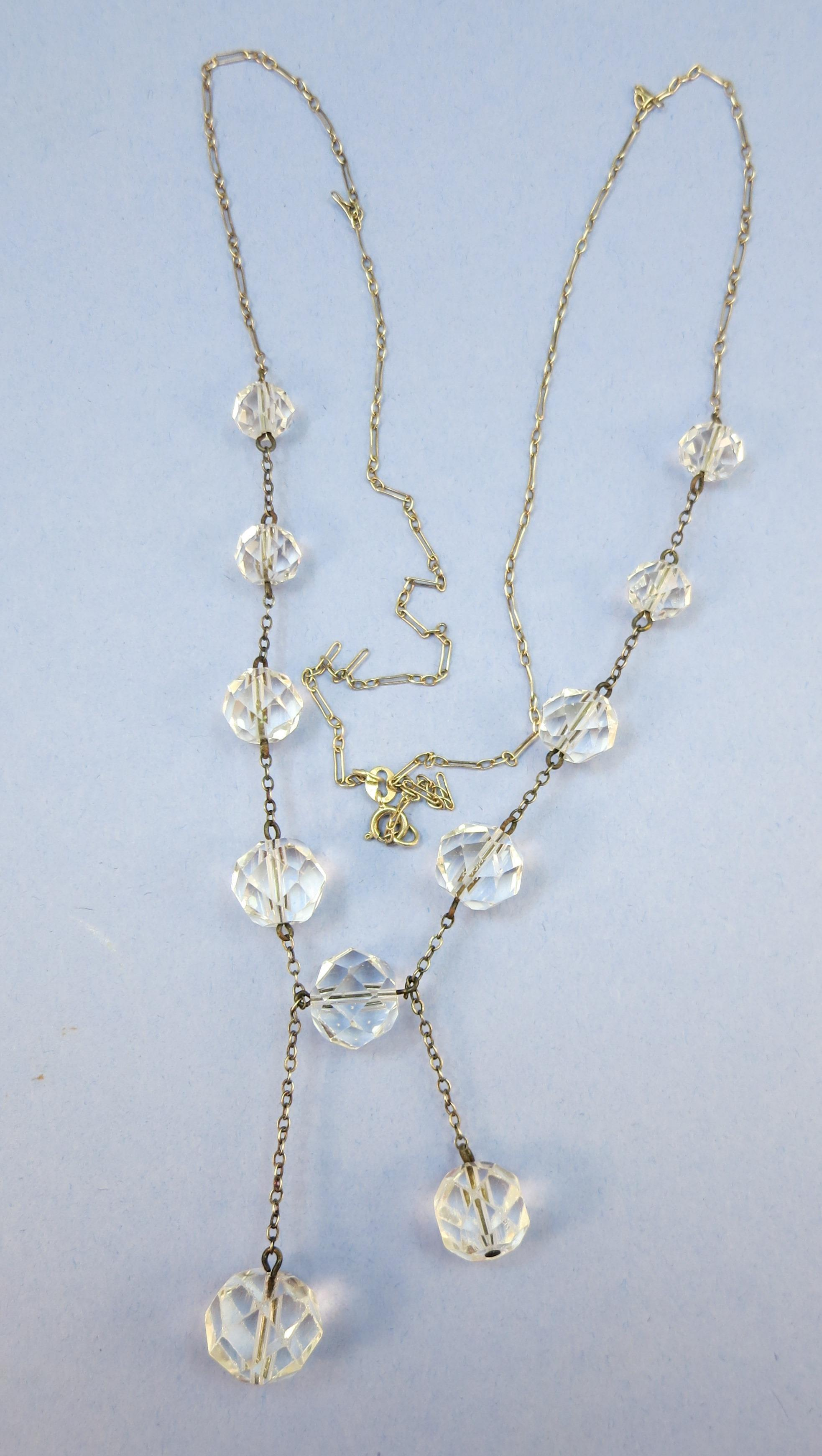 VINTAGE 28 Inch Sterling Chain with 9 Faceted Crystal Ball Necklace