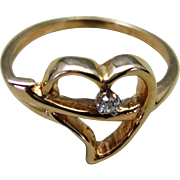 VINTAGE Girls 10K Yellow Gold Ring  Heart and Diamond Size 4 tight