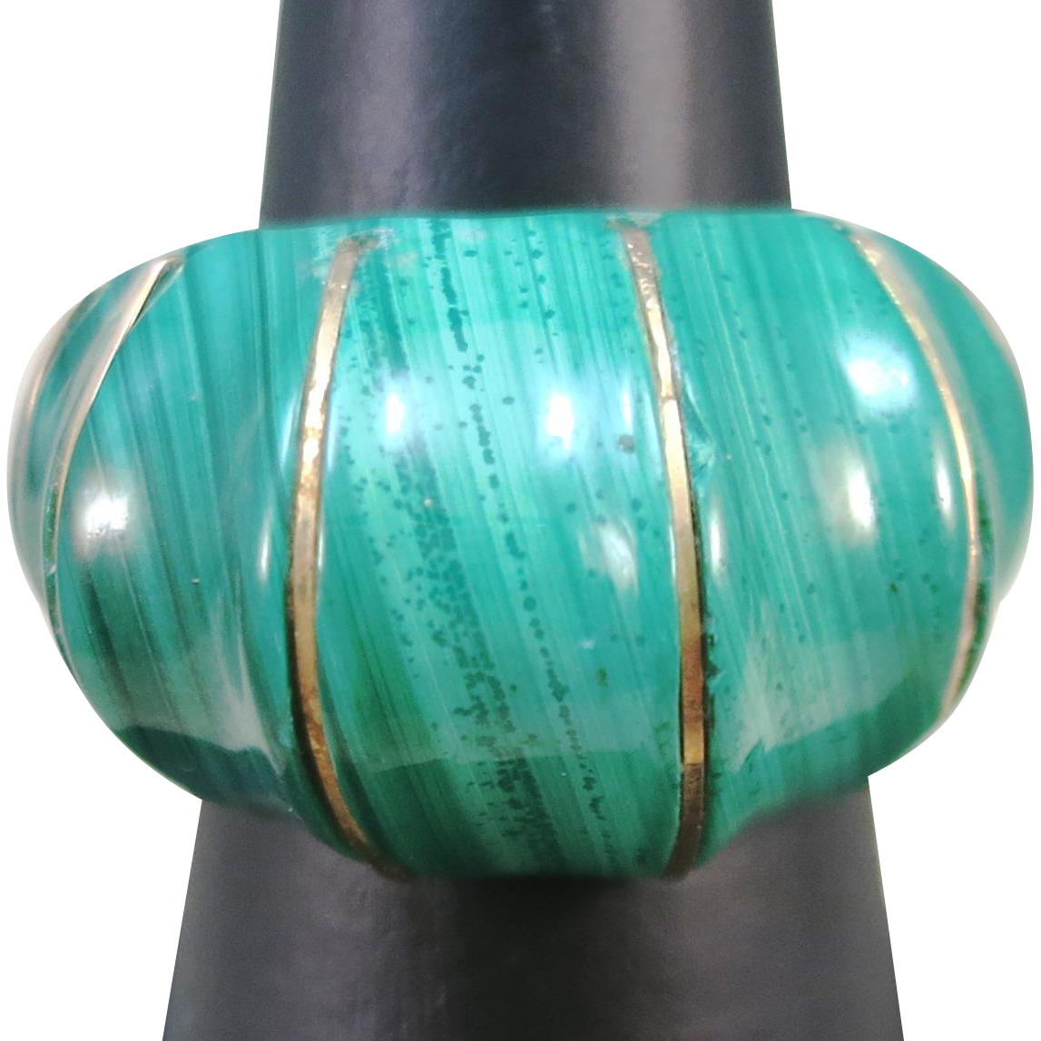 VINTAGE  Malachite Dome Ring  Size 6 3/4