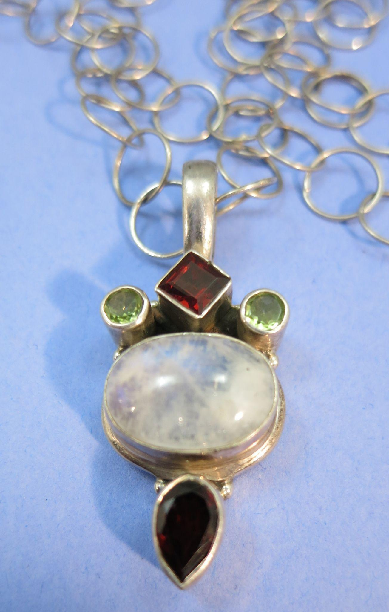 VINTAGE Large Open Link Necklace and Pendant Labradorite , Garnet and Peridot