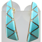 VINTAGE Different Channel Zuni Turquoise Earrings