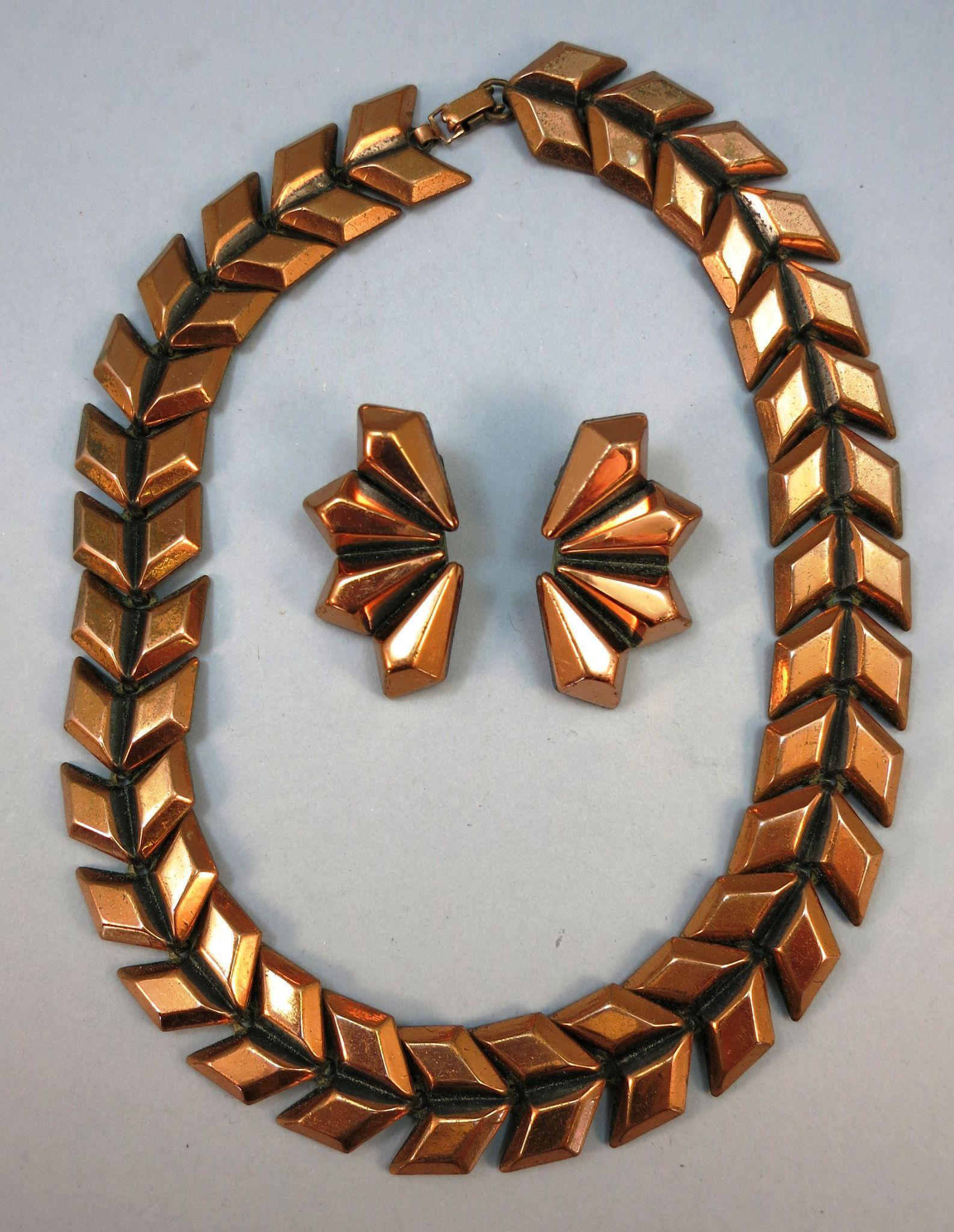 VINTAGE Copper Necklace and Earrings Made by Rame'