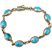 VINTAGE Mexican Silver  7 Inch  Turquoise Bracelet   925