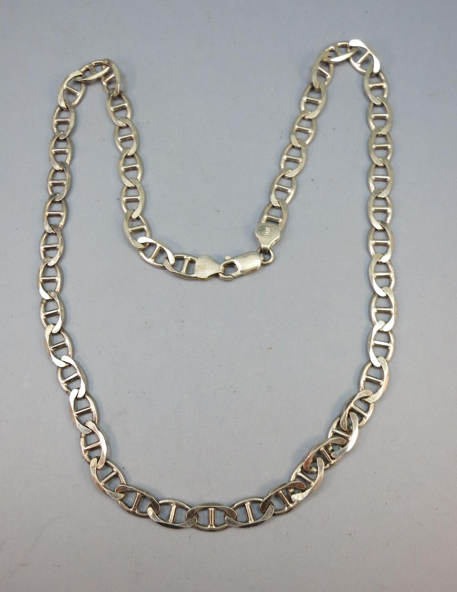 VINTAGE Man Anchor or Marine Sterling 20 Inch Chain Made in Italy  26.53g
