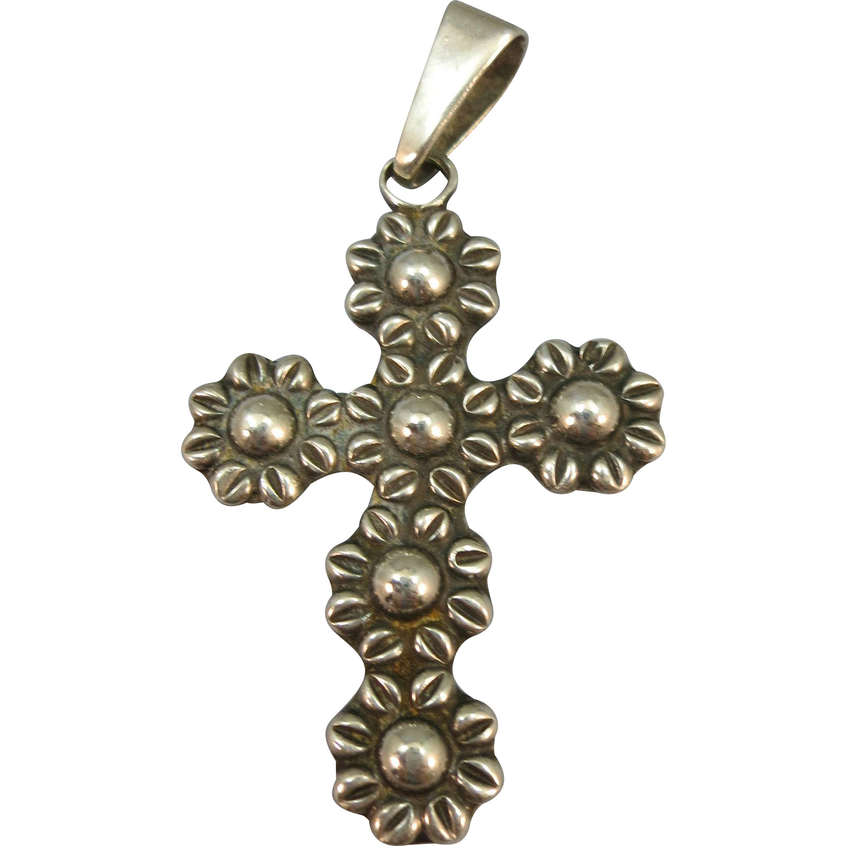 VINTAGE  Mexican Silver Flowered Cross  Beautiful!!