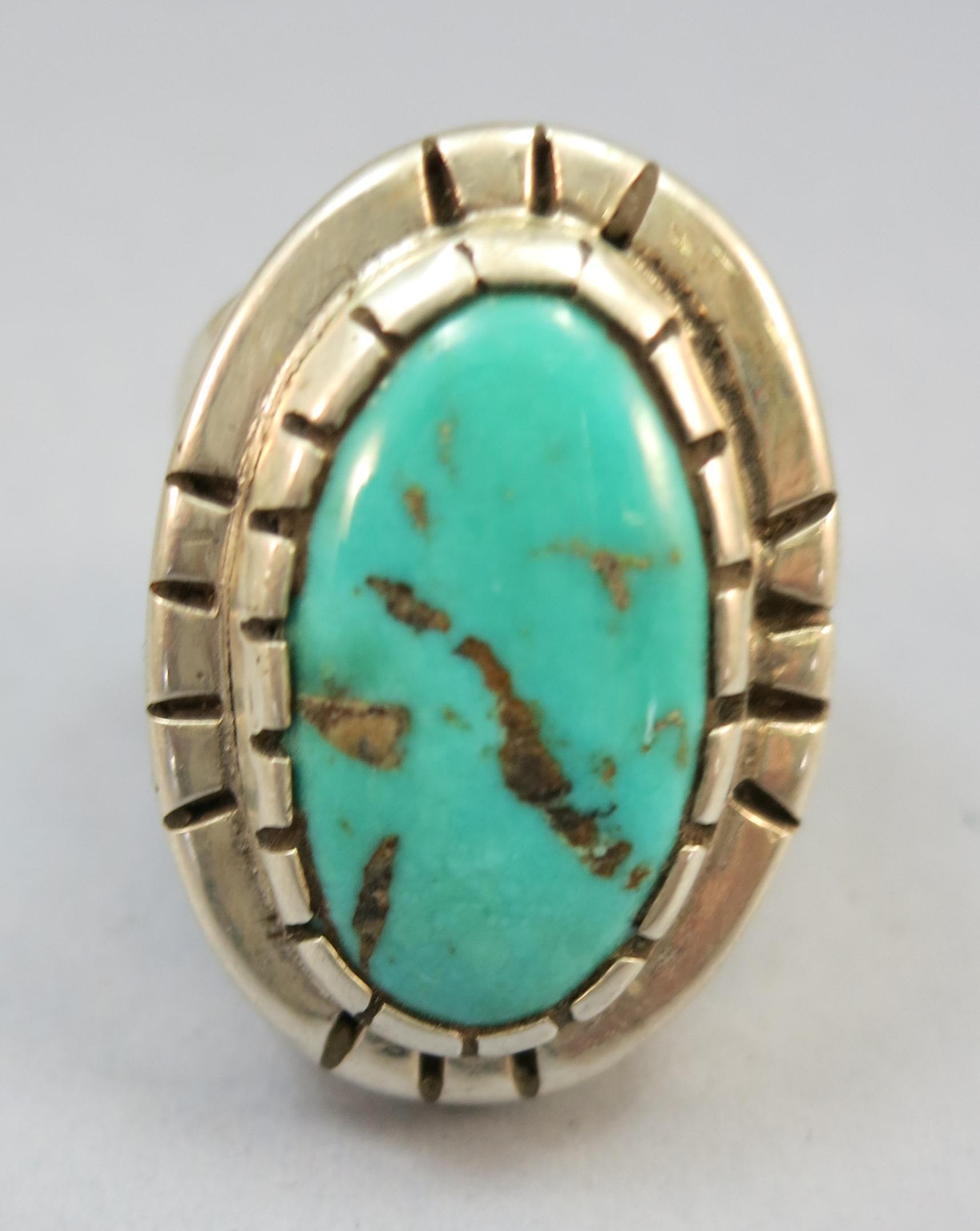 VINTAGE Massive Turquoise Ring with Heavy Silver  Size 10 1/4