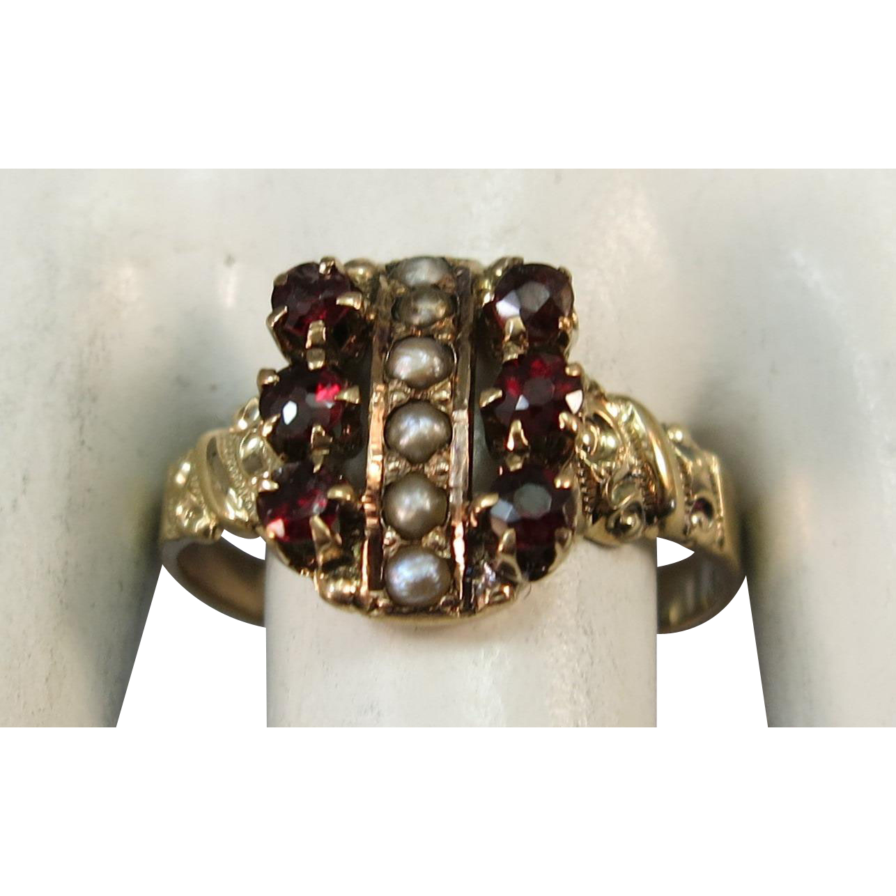 VICTORIAN 12K  Garnet and Seed Pearl Ring Size 5 1/2