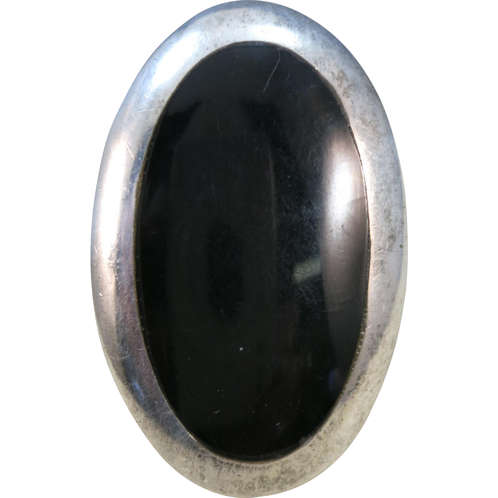 VINTAGE Huge Black Onyx Sterling Ring  Perfect Middle Finger Ring  Size snug 8