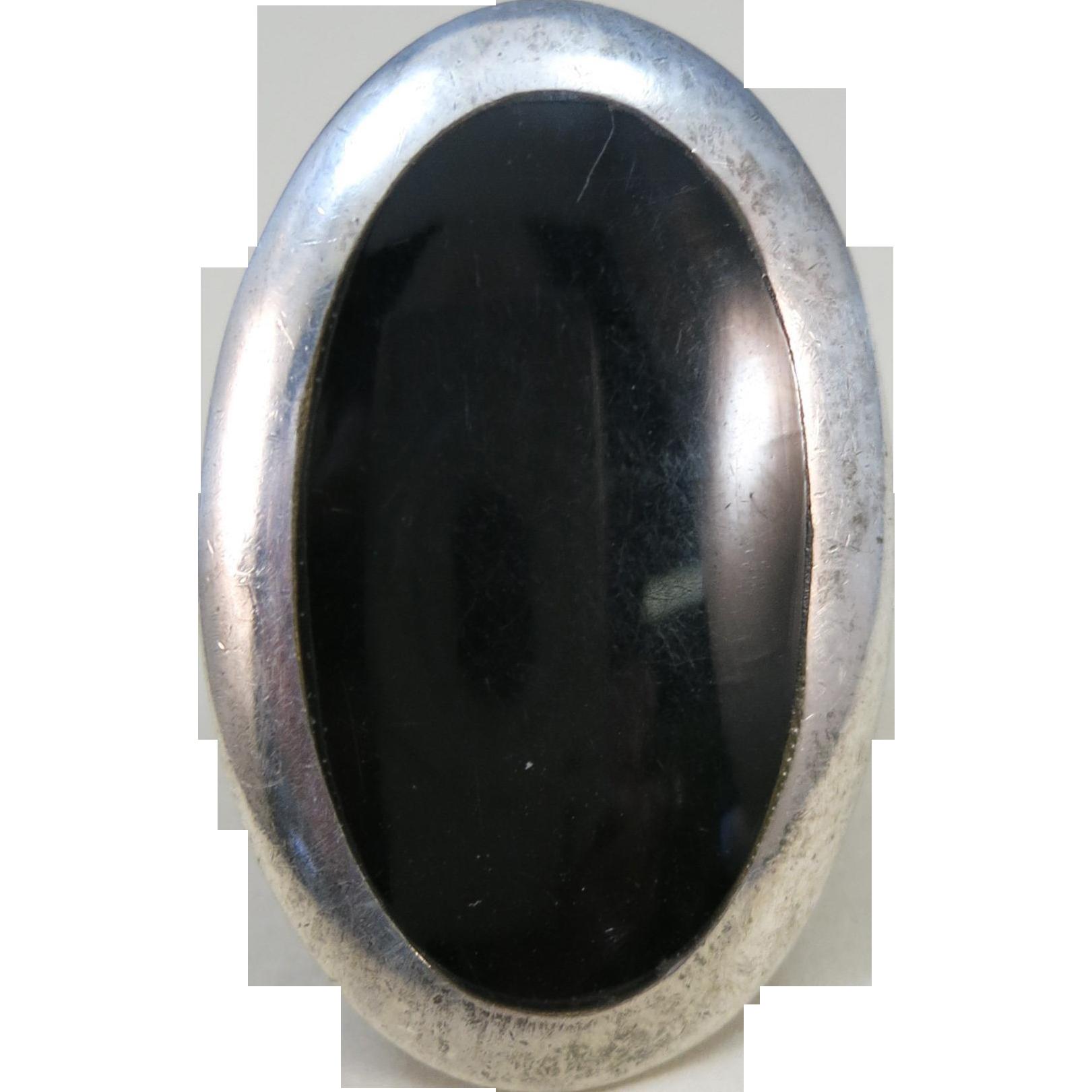 VINTAGE Huge Black Onyx Sterling Ring  Perfect Middle Finger Ring  Size snug 8