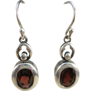 VINTAGE Sterling Garnet Fish-Hook Earrings
