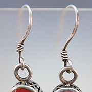 VINTAGE Sterling Coral Fish-Hook Earrings