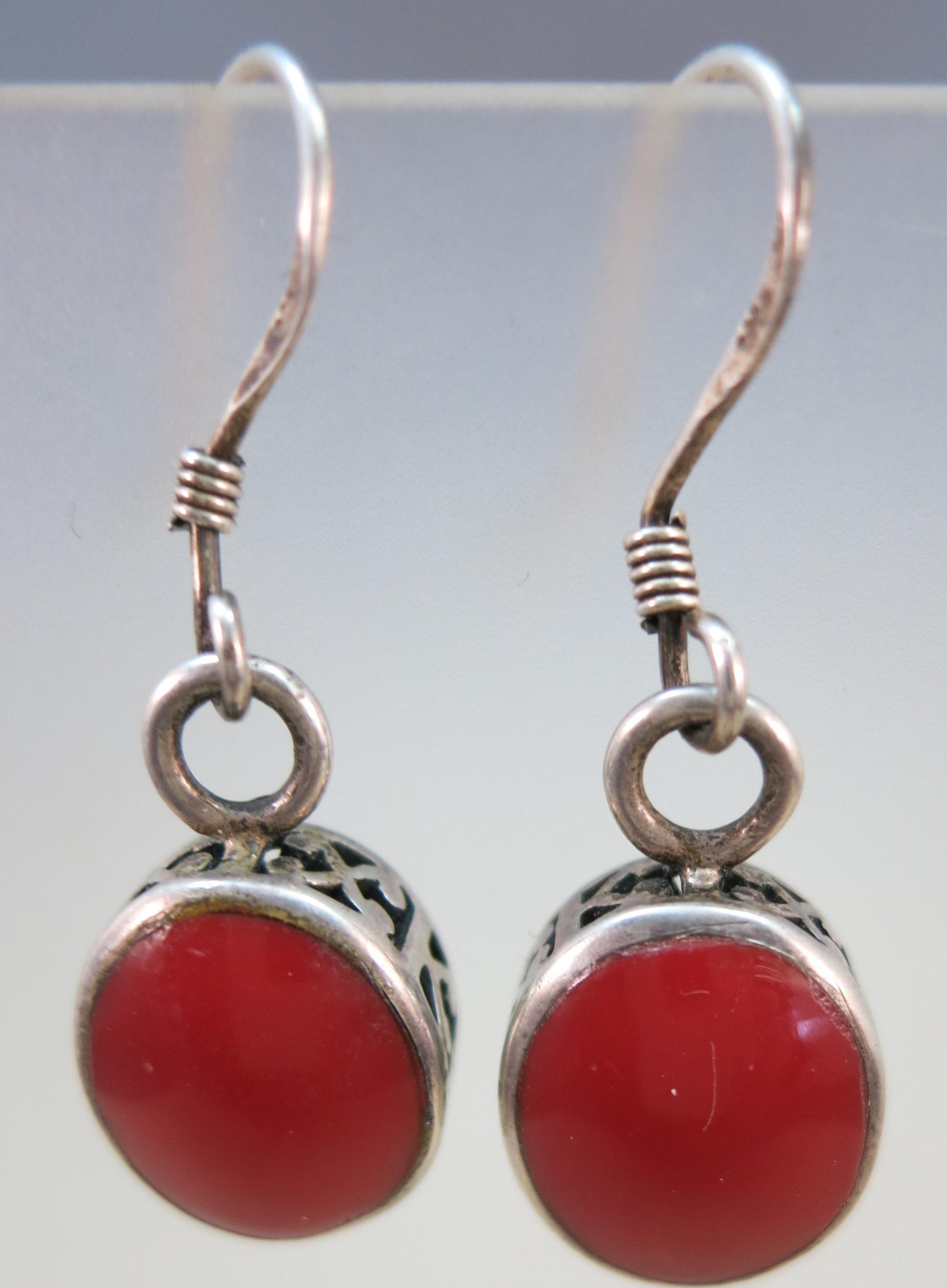 VINTAGE Sterling Coral Fish-Hook Earrings