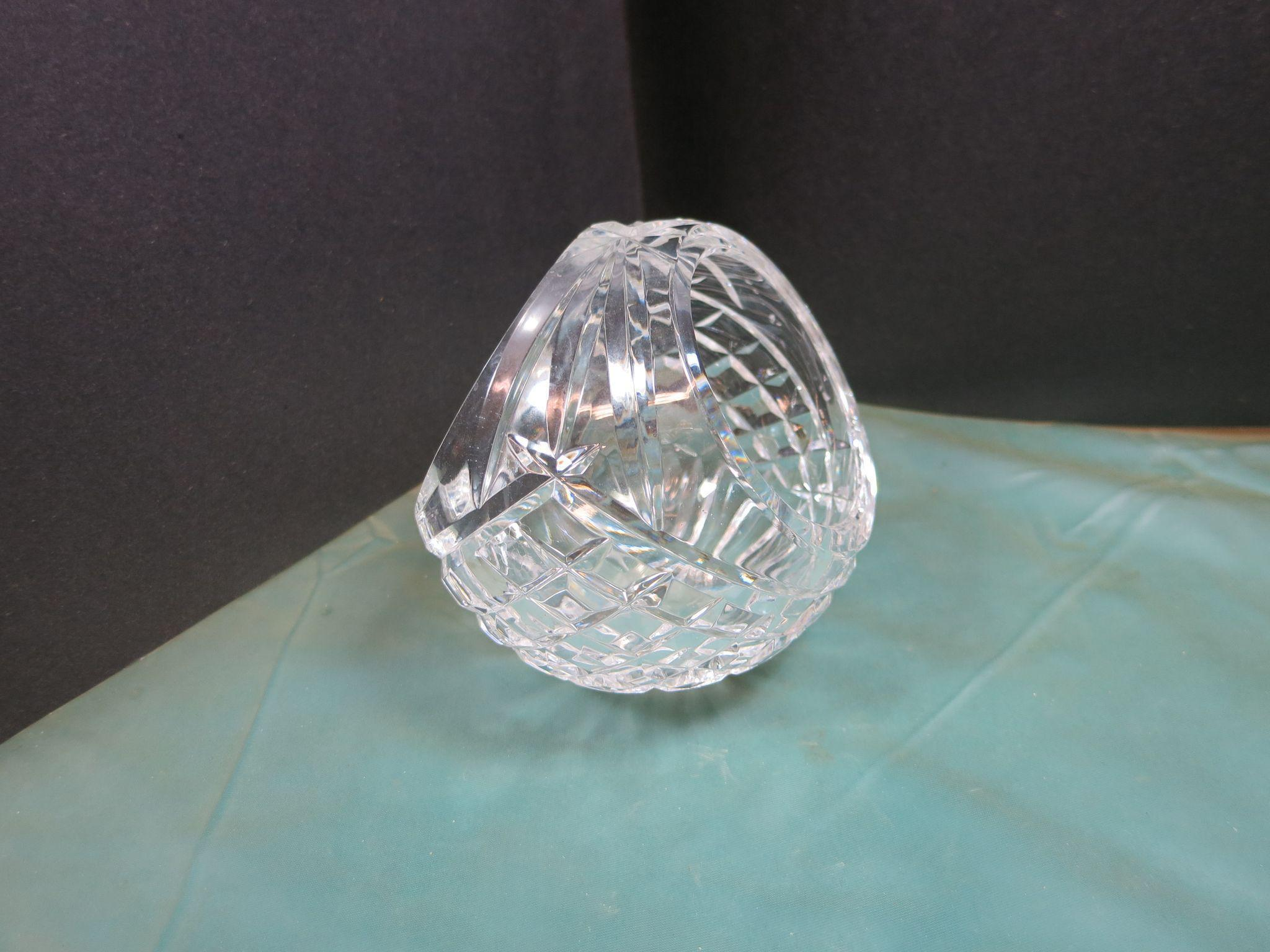 VINTAGE Waterford Round Open Basket  Five Inches Square