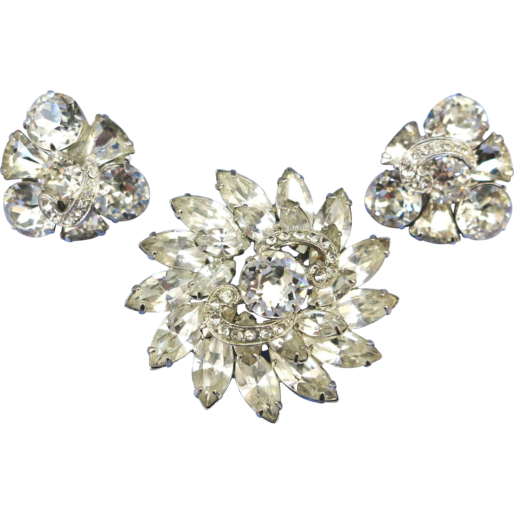VINTAGE Eisenburg Rhinestone Brooch and Earring Set   Bright as SunShine