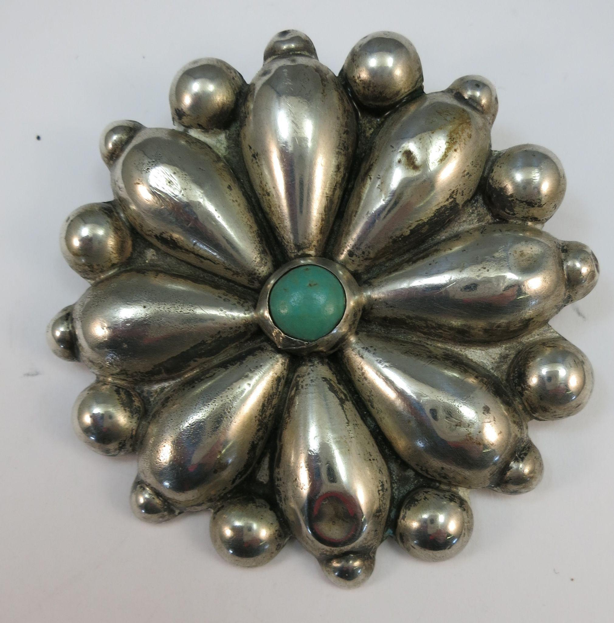 VINTAGE Mexican Silver Brooch  Very Old