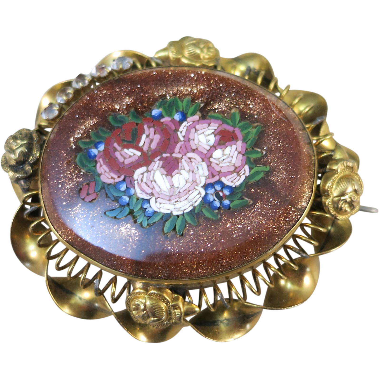 VINTAGE Victorian Era Micromosaic Floral Bouquet Brooch Set in Gold Stone  Made in Italy