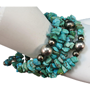 VINTAGE Circle Turquoise Bracelet with 4 Twists