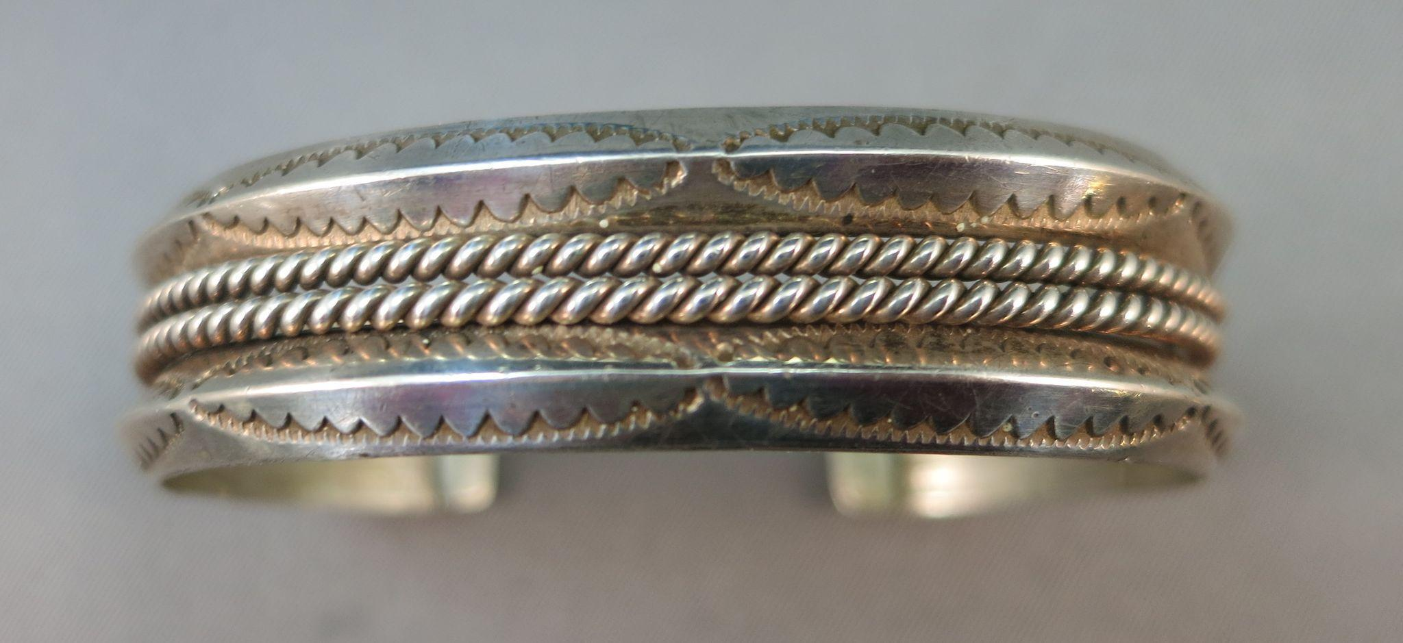 VINTAGE Sterling Casted Bracelet with Two Twists