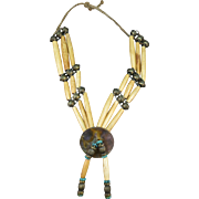 VINTAGE Native American Buffalo Bone Hair Pipe Necklace
