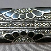 VINTAGE Sterling Onyx Marcasite Brooch
