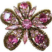 VINTAGE  Beautiful Austrian Shades of Pink  Brooch