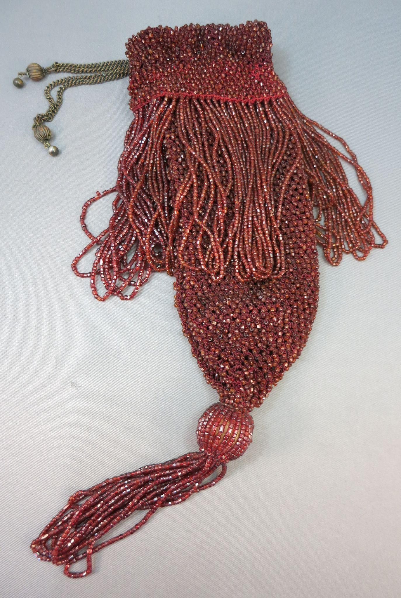 VICTORIAN Ox Blood Draw-String Beaded Purse with Tassel and Draw-string Brass Beads